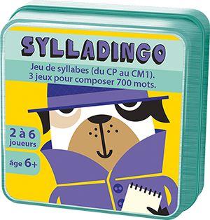 Le jeu de cartes SyllaDingo est un jeu pour le primaire qui se base sur la notion de syllabe pour travailler le vocabulaire en travaillant les syllabes (700 mots peuvent être construits avec 2 cartes et 1500 avec 3 cartes). La boite comprend 3 règles de jeu (d'autres sont disponibles dans le manuel pédagogique). Plus d'informations ainsi que le manuel pédagogique gratuit sur www.aritma.net