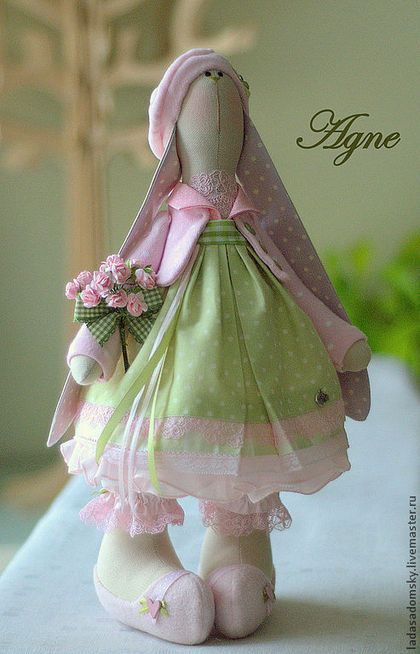 Зайка Agne - 39 см - розовый,нежно-зеленый,салатовый цвет,зайка девочка