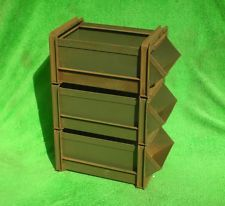 Obo Heavy Duty Steel Mobile Parts Rack Bin Storage Container Tool Cart