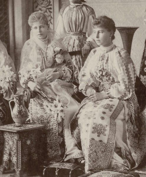 Crown Princess Marie of Romania and sister, Princess Victoria Melita of Coburg, both in traditional Romanian costumes, 1890s