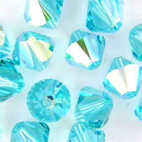 Swarovski 5328 Bicone XILION 6mm Light Turquoise AB Bead (Limited Availability) 12 Pack
