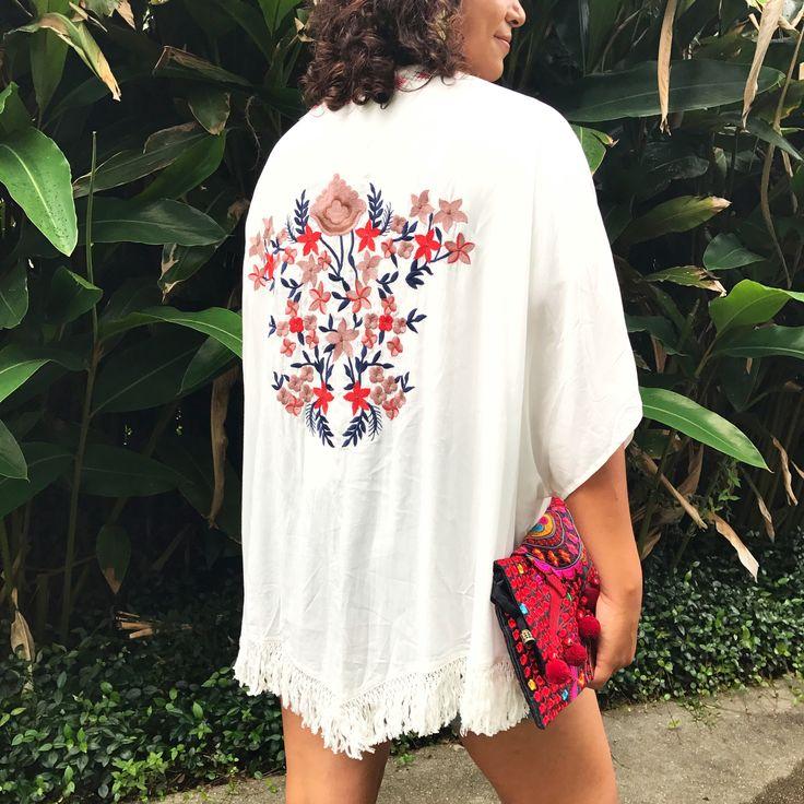 The Fringe Trim Floral Embroidered Kimono