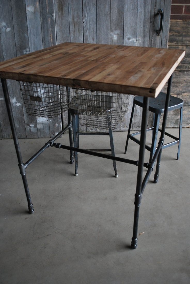 Table Made With Pipe Wood Complete With Sliding Basket