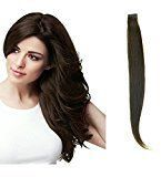 HairExtensionSale Tape in 100% Remy Human Hair Extensions Silky Straight 20 Pieces Per Set Dark Brown (20 Inches)