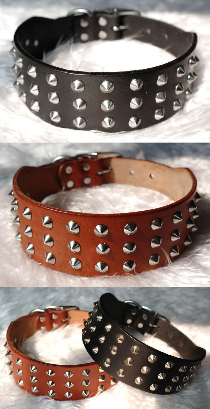 awesome Cool Rivets Studded Best Genuine Leather Pet Dog Collars For Small Medium Large Dogs Black Brown  Boxer Bulldog Pitbull XS S M L