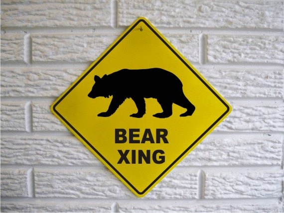 "BEAR XING Sign 12"" x 12"" Aluminum Novelty Garage Room Grizzly Black Bear Sign. $14.99, via Etsy."