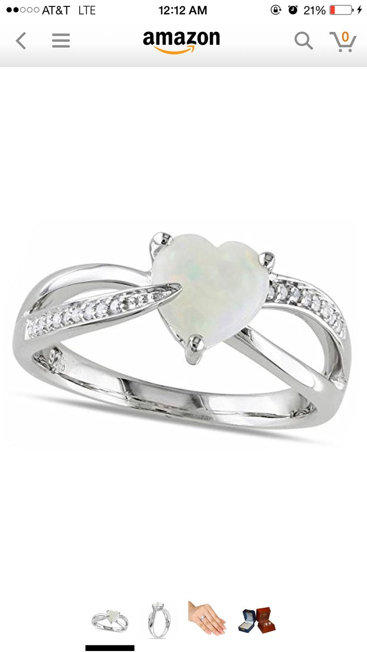 Find This Pin And More On Rings Heart Shaped White Opal Solitaire & Diamond