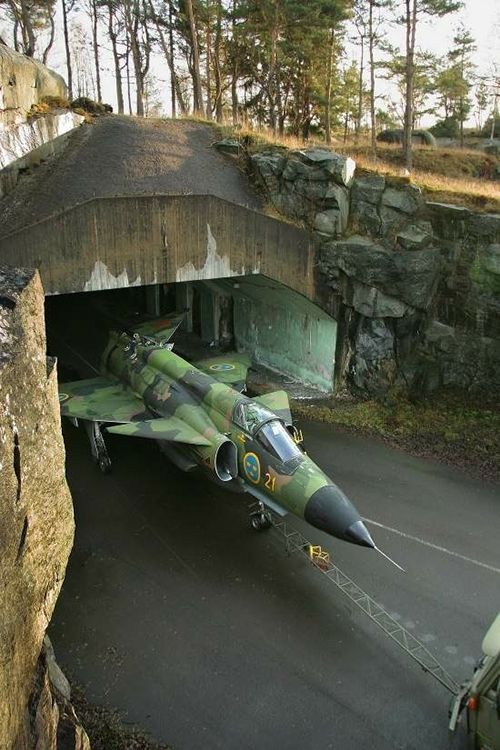 Swedish Viggen at the entrance to a dispersal shelter.