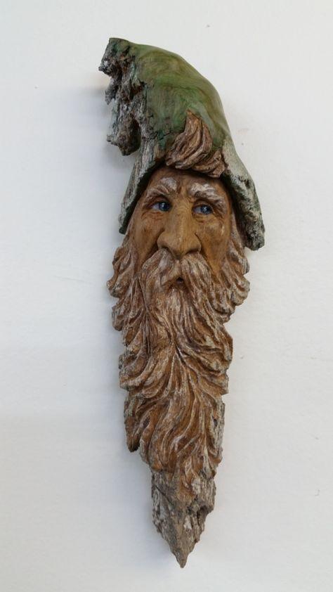 Wood Spirit Elf - Cottonwood Bark Carving by ArtFromTheBark on Etsy