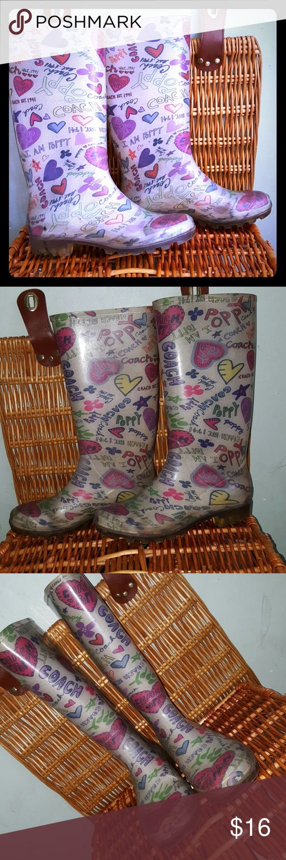 Coach Poppy size 6 rain boots Cute & whimsical. Some wear to the heels. Dark smudges. Coach Shoes Winter & Rain Boots