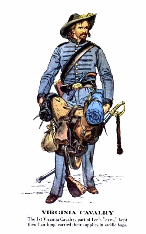 ACW Confederate: 1st Virginia Cavalry, (artist unknown). Help eliminate poor pinning! If you know the artist and can supply a link, please update this pin. Thank you!