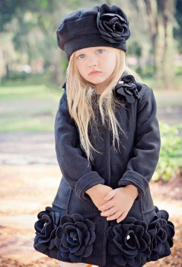 Kate Mack Black Jeweled Rose Coat <br>2 to 16 Years<br>Now In Stock