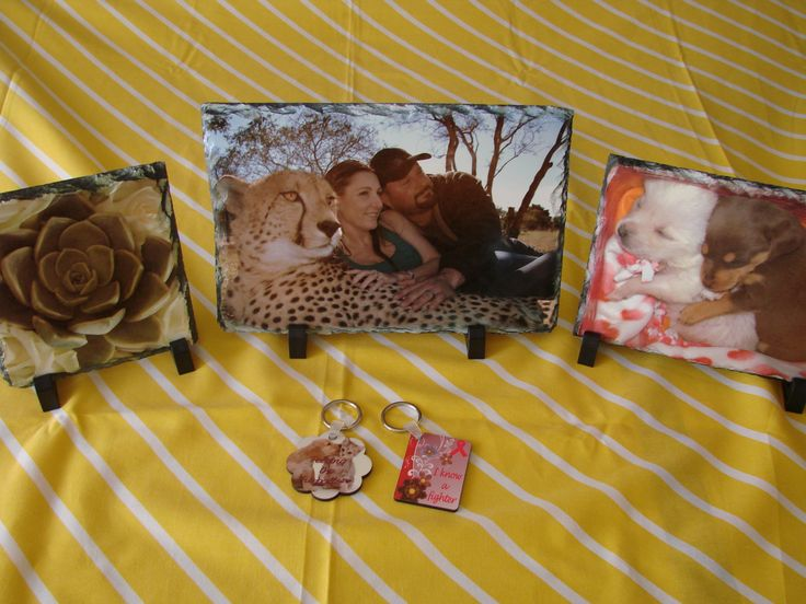 We showcase your photos on slate and key rings. See more: www.wolfprinting.co.za