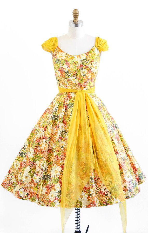 vintage 1950s marigolds party dress with a silk chiffon wrap sash | rockabilly + Mad Men dresses | http://www.rococovintage.com