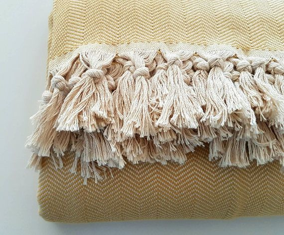 Mustard Yellow Blanket Woven Chevron Blanket King Size Striped Throw Blanket Yellow Blankets Woven Blanket