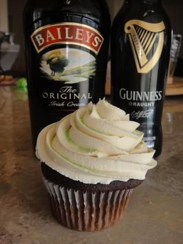 Guinness Cupcakes With Bailey's Frosting - substitute Maple Pecan Porter for Guinness, greek vanilla yogurt for sour cream - yummers!