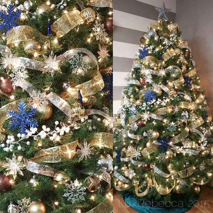 1000 ideas about douglas fir christmas tree on pinterest for Blue gold and white christmas tree