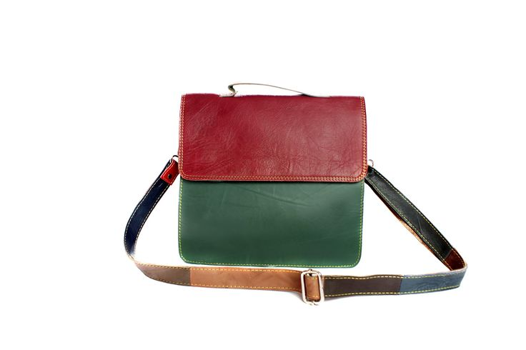 Recycled Leather Handmade Fairtrade Maggie Mae Messenger