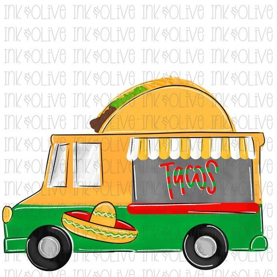 Watercolor Taco Truck Mexican Taco Tuesdays Digital Download Etsy In 2021 Taco Truck Tacos Inkjet Printing