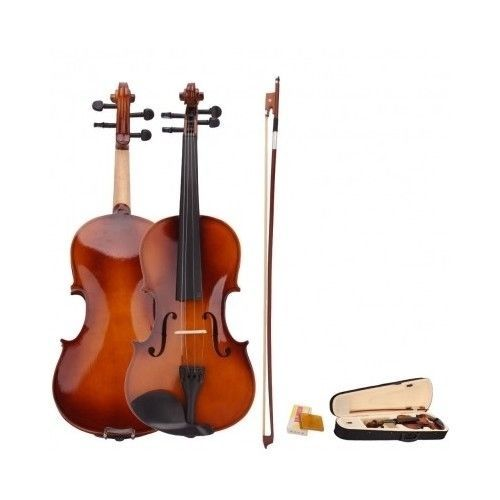 Natural Acoustic Violin Full Size 4/4 Fiddle Case Bow Rosin Musical Instruments