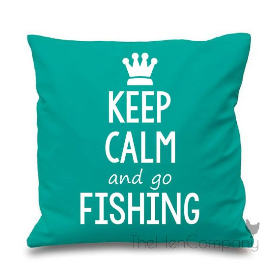 Keep Calm and go Fishing Quote Cushion Cover Gift by TheHenCompany