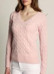 Women's Cable V-neck Light Pink  100 % Cashmere  www.softgoat.com
