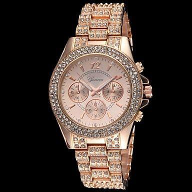 kvinders diamant sag diamante legering band quartz armbåndsur (assorterede farver) – DKK kr. 143