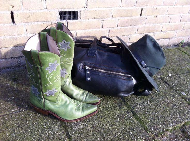 Fantastische groene laarzen in Amersfoort