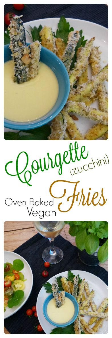 Delicious Vegan Zucchini Fries(aka Courgettes) are coated in a crunchy, savoury…