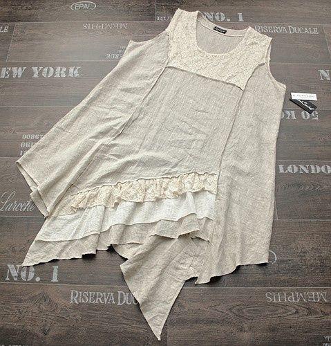 Sarah Santos Layering Quirky Linen Dress Tunic Oatmeal Beige serged edges: