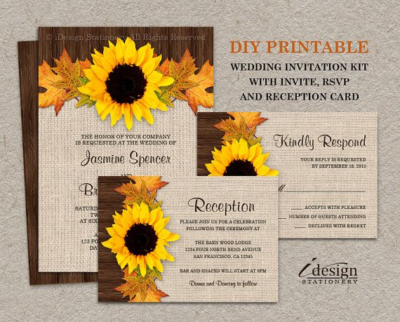 142 best Fall Wedding Invitations And Coordinated Products images – Sunflower Wedding Invitations Kits