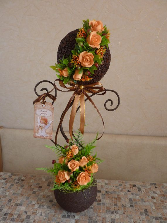 Peach Coffee Tree of Happiness  Topiary Floral by FlowerKingdomArt