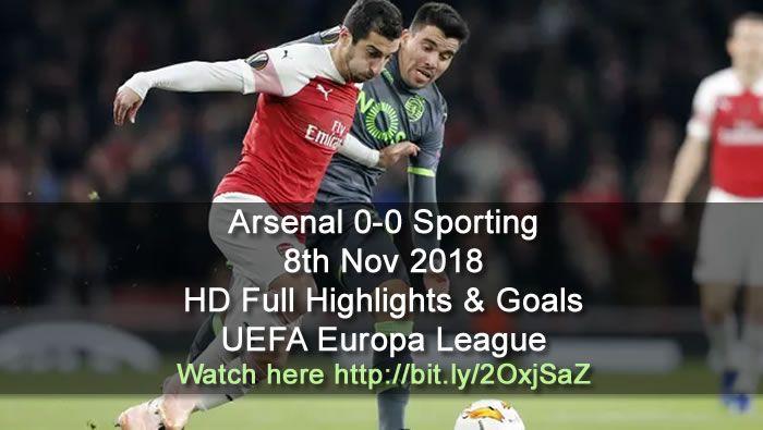 Arsenal 0 0 Sporting Europa League Full Highlights Goals