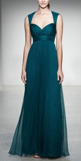 Gorgeous teal gown by Amsale - now for a bustier version. This girl is rail thin. I think this design could be altered for the curvy and even obese. Lovely though.
