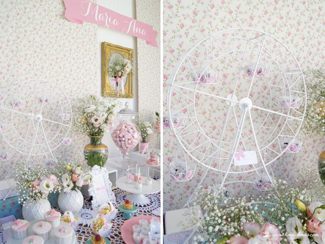 A gigant wheel with treats for this little flowers themed party