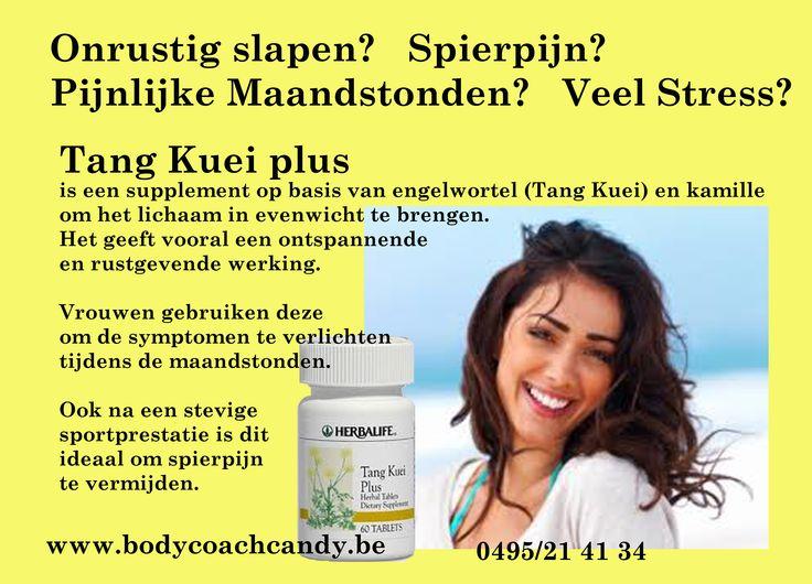 Tang Kuei: spierontspanner op basis van Kamille. Zeer effectief na sportprestatie, spierpijnen, pijnlijke maandstonden, ontspannend bij STRESS, rustgevend, bij moeilijk slapen. Bestellen kan via www.bodycoachwebshop.be
