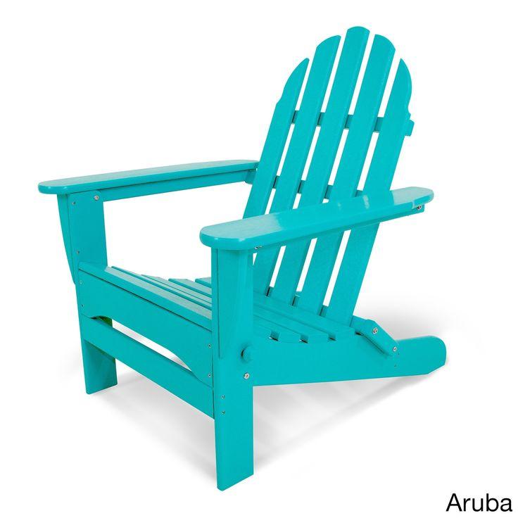 Clic Folding Adirondack Aruba Blue Size Single Patio Furniture Plastic