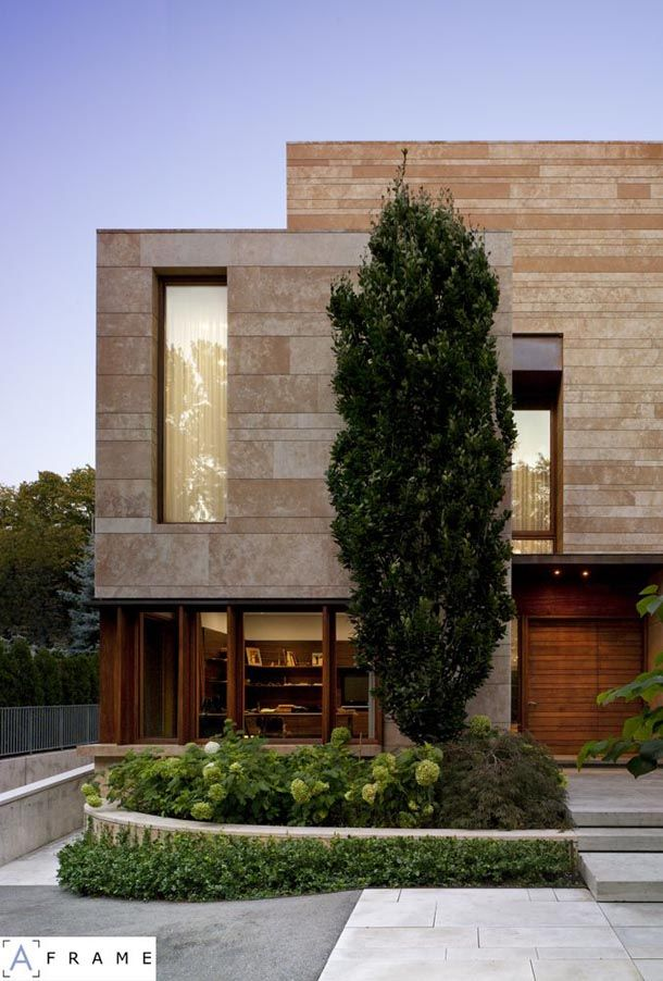 not my typical style, but this really caught my eye, but why? (combination of stone and wood maybe, straight, modern lines) Ravine Residence, Hariri Pontarini Architects, Toronto, ON, Canada