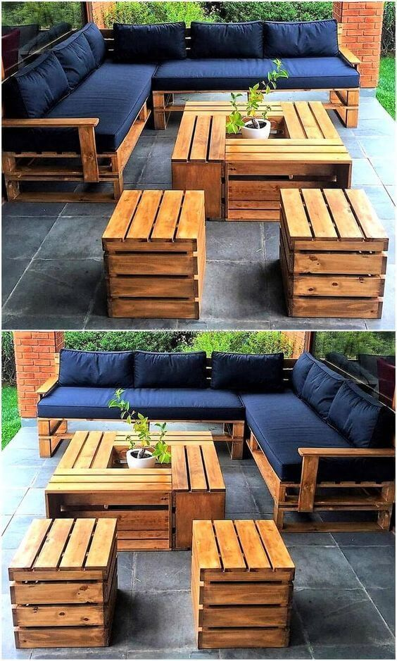 Lassen Sie sich inspirieren, um ein komplettes DIY-Palettenmöbel-Set für Sie zu kreieren …