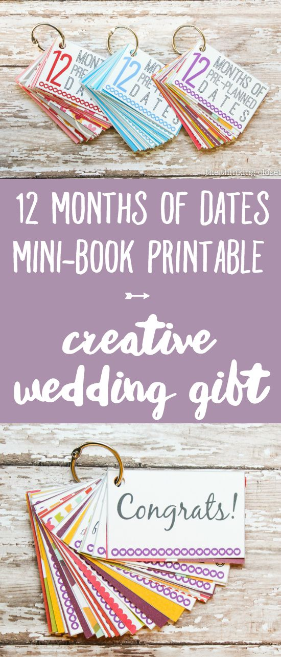 FREE Printable 12 Months of Pre-Planned Dates Mini-Book | Give the gift of quality time as a creative and meaningful wedding or engagement gift with this free printable download. Help make a couple's first year of marriage one for the record books! The 14 page PDF Printable Pack comes with everything you need to carry out this gift idea plus many more!