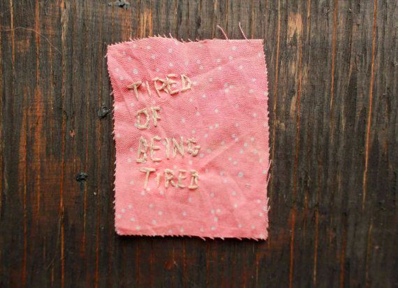 Pink and White polka dot Embroidered TIRED of by PeachMoonDIY
