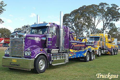 ✿ڿڰۣ(̆̃̃ღAussiegirl.                               Truckworks Kenworth T908 towing their Peterbilt recovery truck by Truckaus.