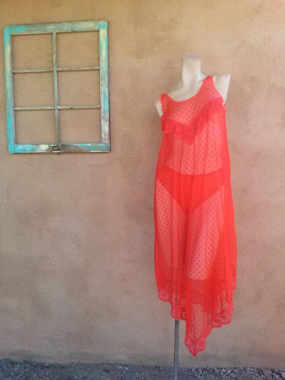 Vintage 1960s Nightgown Peignoir Nightie Panty Set Red Negligee 2 Pc Sz M 5716e5d0b