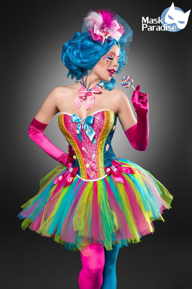 Kostüm Buntes Candy Girl Sexy Fasching Karneval Damen ...
