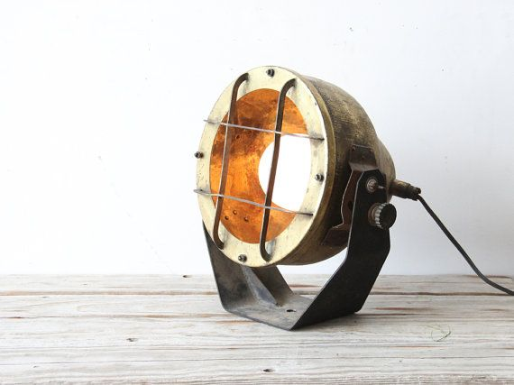 Extra Large Nautical Brass Ship's Spotlight Lamp by OceanSwept, $299.00