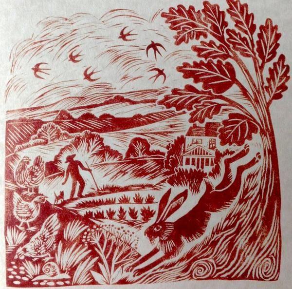 'Simple Pleasures' by Celia Hart (linocut)