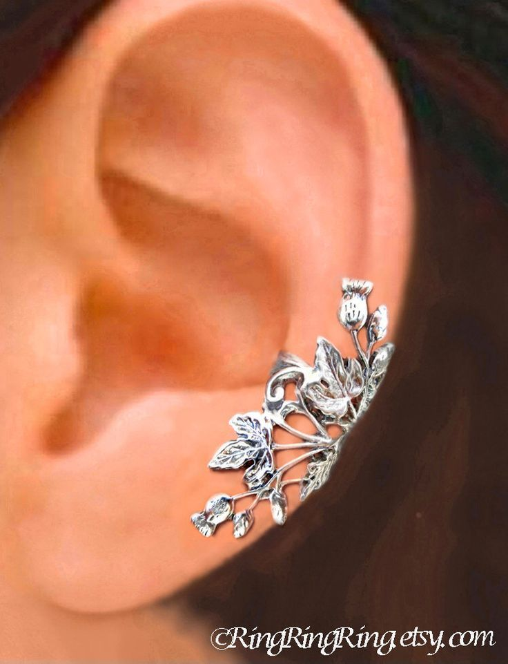 Thistle ear cuff, Flower and Ivy Leaf  Sterling Silver earrings, earcuff clip jewelry, Right or Left by RingRingRing on Etsy https://www.etsy.com/listing/196164579/thistle-ear-cuff-flower-and-ivy-leaf