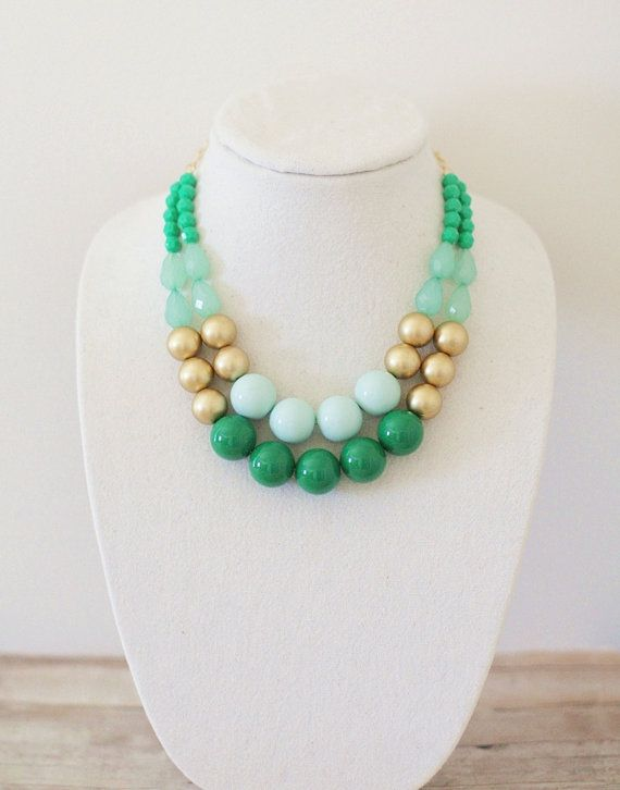 Emerald Mint and Gold Statement Necklace by ShopNestled