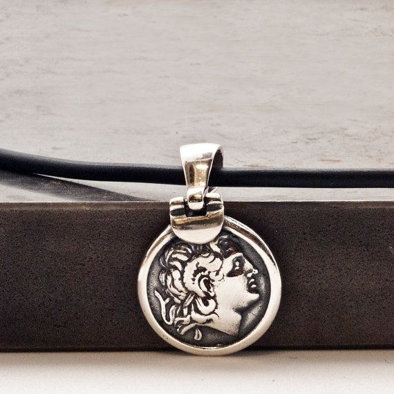 Greek Ancient Coin Necklace Men Sterling Silver by GreekMythos
