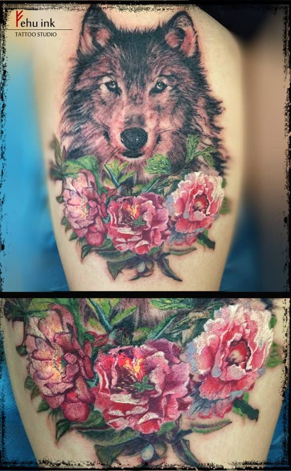 wolf tattoo flower - Google Search | Tattoo | Pinterest ...